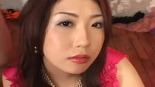 Hatsumi Kudo in pink ruffles gobbling a hard