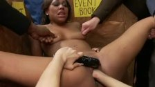 Ebony whore fucked for public view
