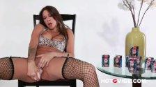 Bombshell Kayla Carrera enjoying the product