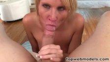 Blonde babe deepthroats hard cock