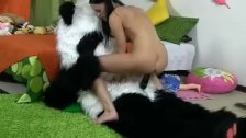 Hot brunette chick fucking panda