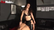 Nasty slut on leather gets her pussy licked