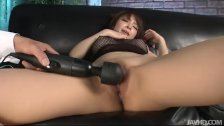Riona looks sexy in black and spreads her pussy