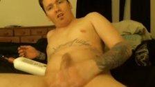 Cute guy jacking huge dick