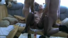 Blonde girlfriend in MMF action