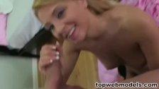 Blonde babe gets jizzed