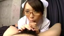 Japanese nurse sucking patient cock