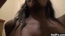 Black girlfriend blowing after work