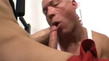 Old baldhead teaches boy to fuck