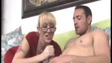 Horny Milf Jerks Off A Young Man