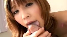 Japanese babe gives tit job then sucks
