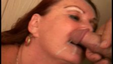 Grandma with big tits gets a facial