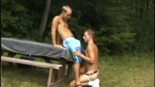 Gay twinks shagging on picnic table