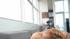 Casting Couch-X blonde gymnast gets flexible