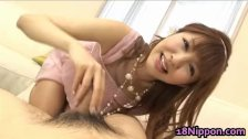 Horny asian teen girl sucks off some
