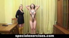 Naked BDSM training for slave girl