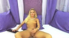 Blonde Shemale Jerks off her Big Cock