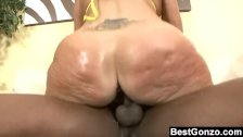 Milf shakes her big butt on black dick