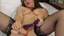 Dildo and Vibrator Made her reach an Intense