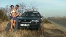crazy amateur girl gets cum next to car