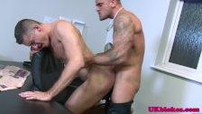 English muscled jock anal romp on desk