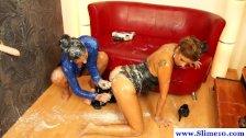 Bukkake drenched lesbians at gloryhole