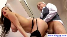 Old brit man throatfucks younger brunette