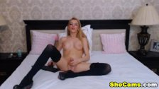 Big Titty Blonde Shemale Jerking her Cock Off