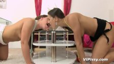 Naughty girlfriends gulping down hot piss