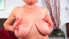 Grandma's big tits and luscious pussy