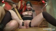 Dominatrix has toys in all her sex slaves