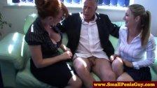 Femdoms humiliating his tiny rod