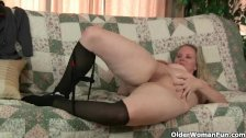 Mom's new pantyhose gets her hot and horny