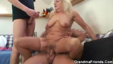 Hot 3some party with drunk blonde grandma
