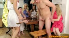 CFNM femdom party babe blows dude