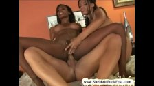 Black shemale babe shares a large white cock