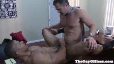 Gay uniform ebony hunk blows his load