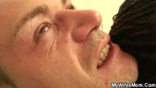 Plump mom swallows his cock when his wife lef