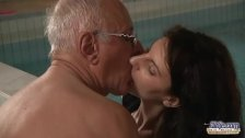 Old man fucks teasing young brunette slut