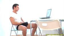 Dorian enjoys jerking at his laptop