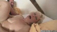 Blonde old bag seduces her son-in-law