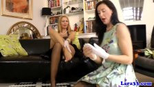 Glamour matures in stockings rub pussy