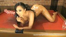 Hot Asian Jada naked on pool table