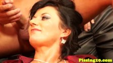 European pissdrinking threeway with glam milf