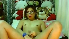 Asian Shemale Jerking her Hard Dick