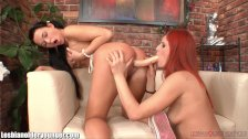 LesbianOlderYounger Redhead MILF Toying Teen