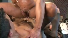 Muscle double penetration, butch lesbian sucking on big tits