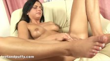 Czech girl takes silver toy up her ass
