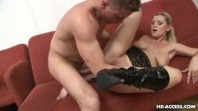 Blonde whore licks his shaft and gets fucked