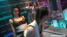 Party lesbians dancing erotically in sex orgy